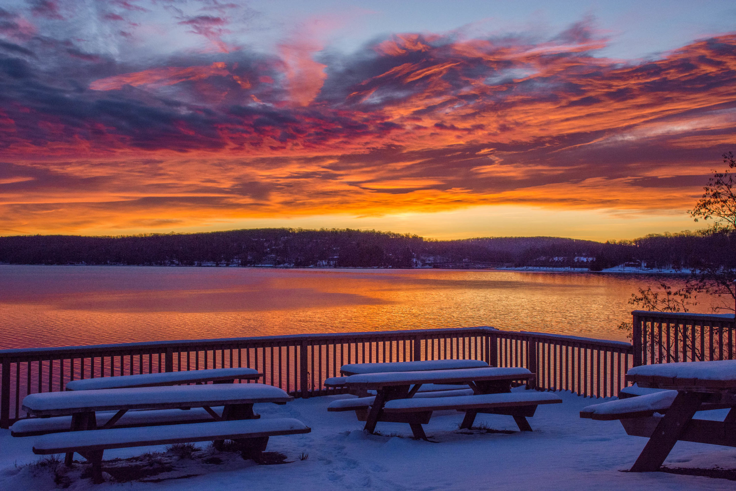 Sunrise over Deep Creek Lake in Winter