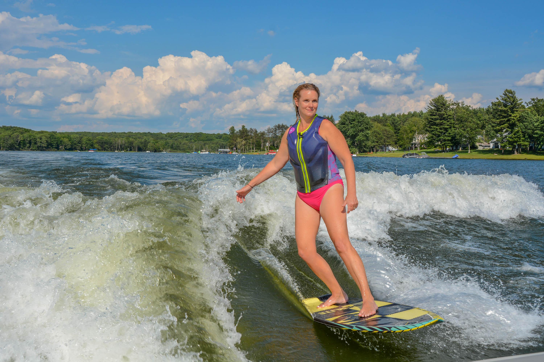 Wake surfing at Deep Creek Lake