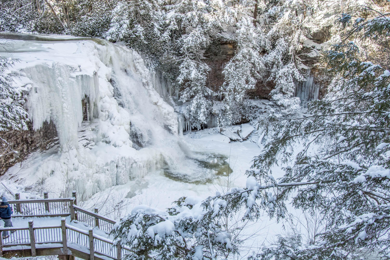 Frozen Waterfall in Winter near Deep Creek Lake