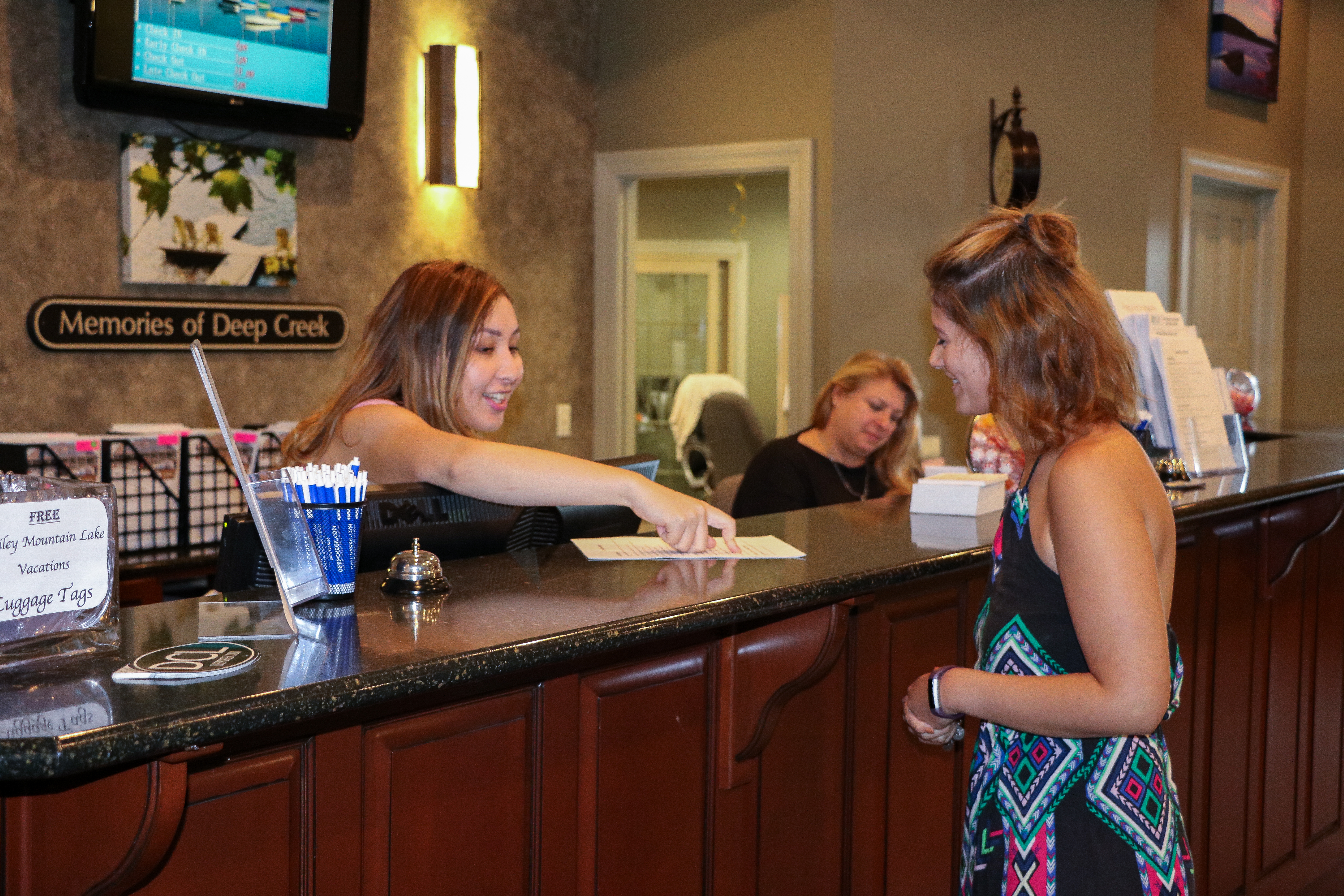 Check-In Reception Desk at Railey Vacations