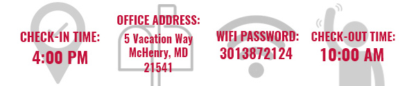 Check In Time, Office Address, Wifi Password, Check Out Time