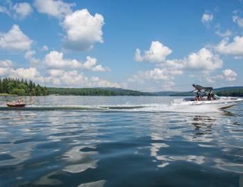 Boat and Tubing on Deep Creek Lake