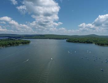 Drone View of Deep Creek Lake Summer