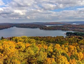 Fall Drone View of Deep Creek Lake