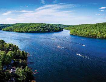 Summer Drone View of Deep Creek Lake