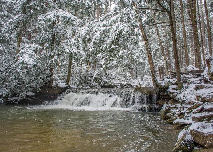 Winter waterfall at Swallow Falls State Park
